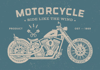 Vintage race motorcycle old school style. Poster and print for t-shirt. Vector illustration