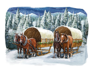 Christmas winter happy scene with horses in the mountains - forest - illustration for the children