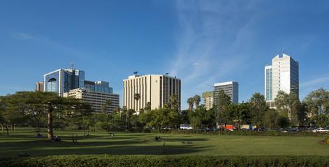 wide panorama of city center area of Nairobi, Kenya