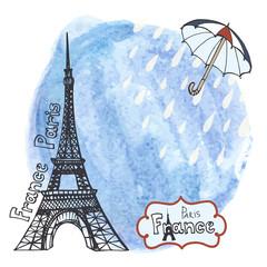 Paris Eiffel tower.Watercolor splash,umbrella,rain