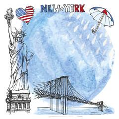 New York landmark.Watrcolor splash,rein,umbrella
