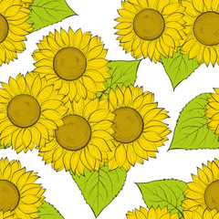 beautiful seamless background with sunflowers.