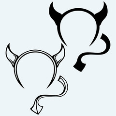 Devil's horns and tail