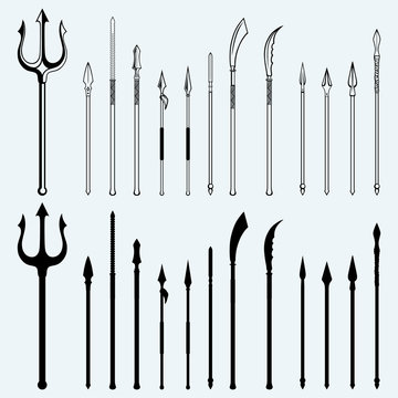 Set spear. Isolated on blue background