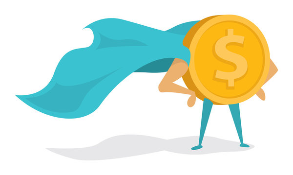 Money super hero or heroic gold coin standing with cape