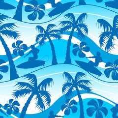 In de dag Groene koraal Surfer with palm tree seamless pattern