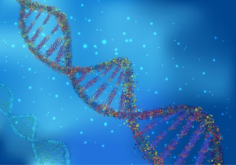 Multicolored DNA molecules on science background
