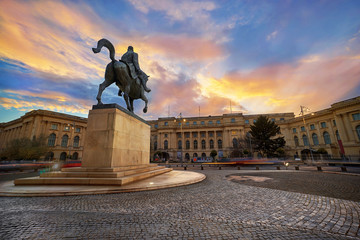 Bucharest at sunset. Charles the First horseback statue .