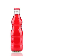 bottle of  strawberry glass soda isolated on a