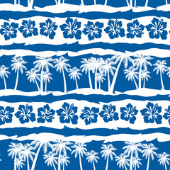 Tropical frangipani with beach palms seamless pattern