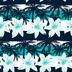 Tropical frangipani with palms and stripes seamless pattern