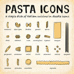 Vector Doodle Icons of Various Pasta Types