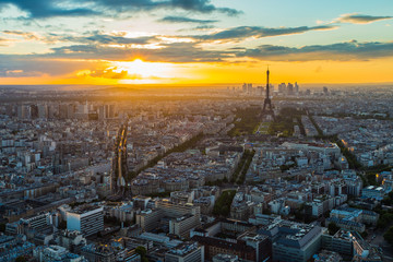 Paris skyline at sunset in France