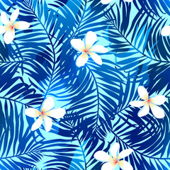 Tropical palms seamless pattern in blue with Frangipani flower