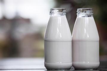 Bottles of milk on the wood