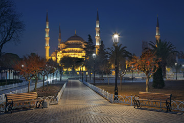 Istanbul. Image of the Blue Mosque in Istanbul, Turkey during twilight blue hour.