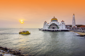 Majestic view of Malacca Straits Mosque during sunset
