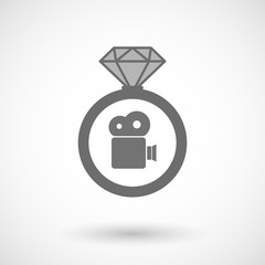 Isolated vector ring icon with a film camera
