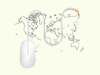 beautiful graphic design of creation,computer mouse is drawing the world map