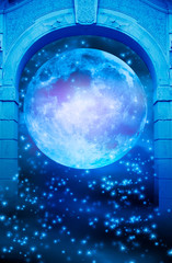 Wall Mural - a gothic gate with Moon and starry space