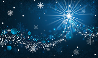 Abstract winter background. Snowfall, sparkle, snowflakes on a blue dark background.