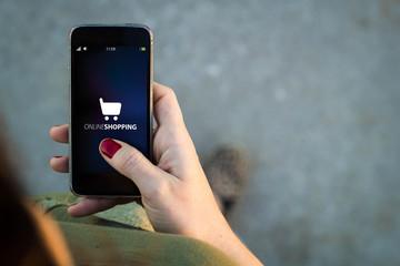 Fototapeta Woman walking smartphone online shopping