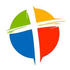 Crucifix Cross Brush Circle Colors Logo Template
