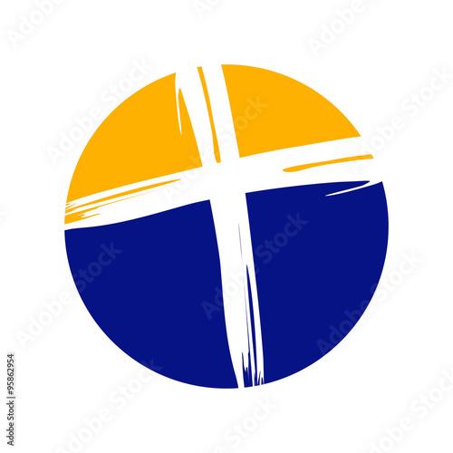 Crucifix Cross Brush Circle Logo Template Stock Image And Royalty