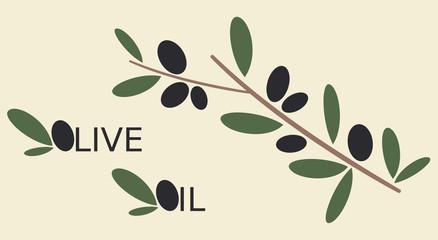 black olives branch flat vector illustration