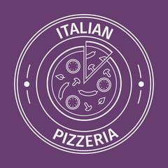 Simple flat round italian pizzeria icon