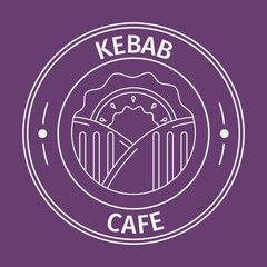 Simple flat round kebab cafe icon