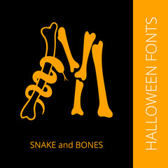 Halloween alphabet letter M consist of snake and bones