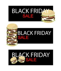 Cheese Burger on Black Friday Sale Banner