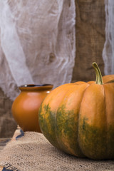 Still life pumpkin and pot