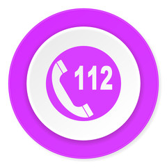 emergency call violet pink circle 3d modern flat design icon on white background