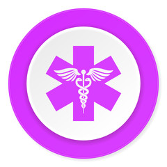 emergency violet pink circle 3d modern flat design icon on white background