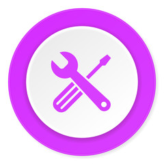 tools violet pink circle 3d modern flat design icon on white background