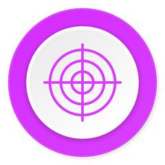 target violet pink circle 3d modern flat design icon on white background