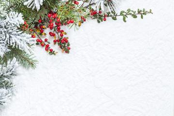 Świąteczna dekoracja na białej teksturze - fototapety na wymiar