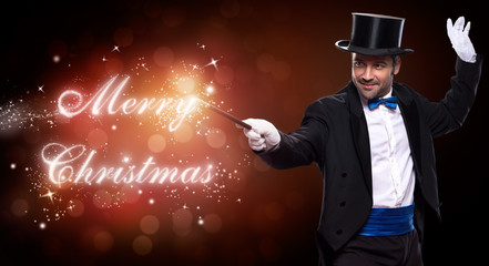 Wall Mural - magician with a Christmas magic