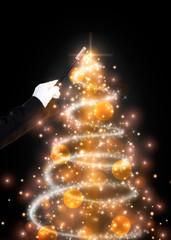 Wall Mural - Magic wand and glittering Christmas tree