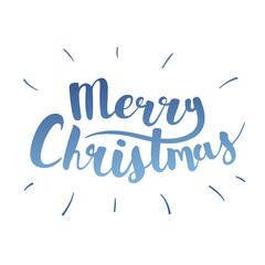 Brush lettering that says Merry Christmas. Vector.