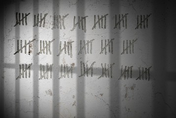 Illustration of wall in jail cell counting days