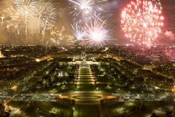 Fireworks, celebration of the New Year in Paris, France