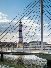 Bridge and old lighthouse in the center of Malmo city, Sweden