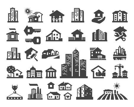 house vector logo design template. estate or building icons