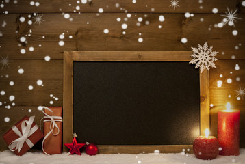 Christmas Card, Blackboard, Snow, Snowflakes, Copy Space