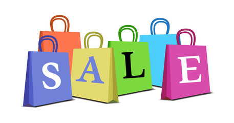 Abstract colorful background with more colorful bags and the text sale written on the bags