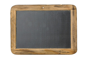 Vintage chalkboard with wooden frame isolated on white background