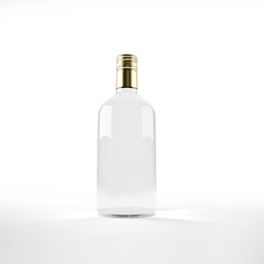Clear Lit Wine or Vodka Bottle With Path